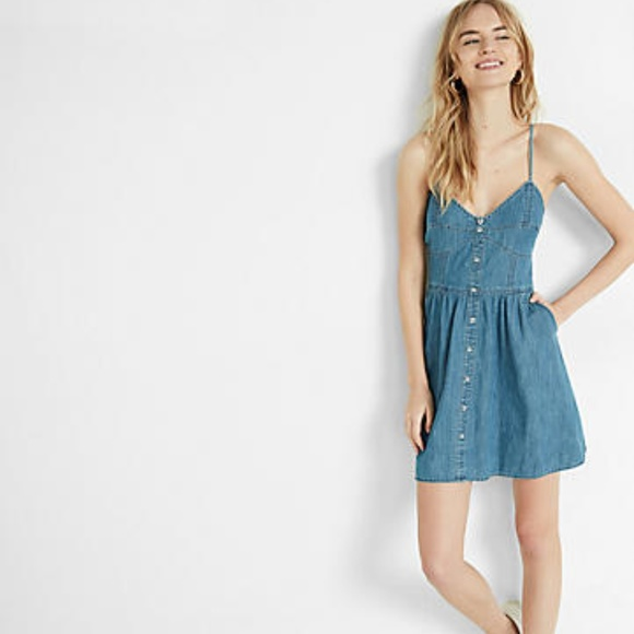 fa4e756aa3 Express Button Front Denim Cami Dress
